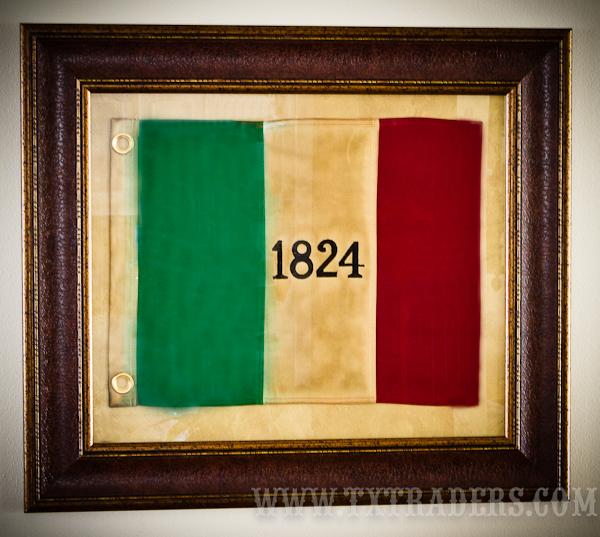 Framed Texas Battle Flag Alamo 1824