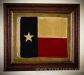 Framed Texas Battle Flag - Texas Flag - Third Republic of Texas Flag