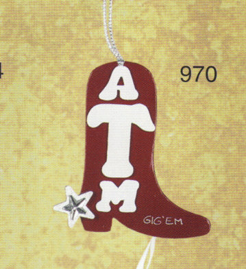 Texas A&M Boot Christmas Ornament - Gig 'em!