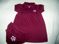 Baby Aggie Maroon Dress and Bloomers with Texas A&M Logo