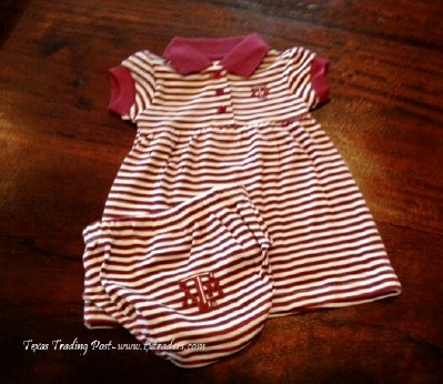 Baby Aggie Maroon and White Dress with Bloomers with Texas A&M Logo