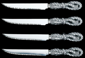 zHand Crafted Rope Steak Knives by Arthur Court