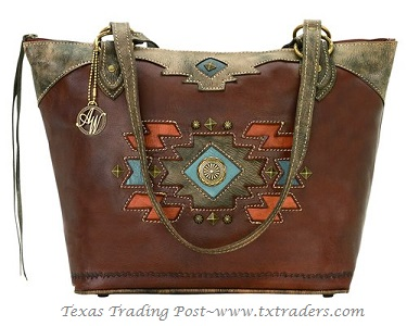 American West Leather Zip Top Bucket Tote - Zuni Collection