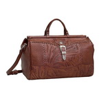 American West Leather Hand Tooled Duffel Bag