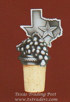 Wine Stopper - State of Texas with Grapes
