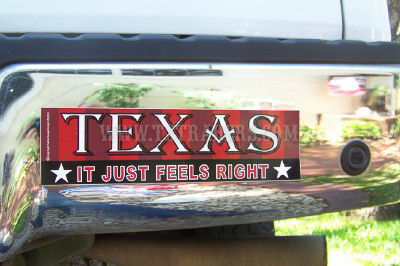Texas - It Just Feels Right Bumper Sticker