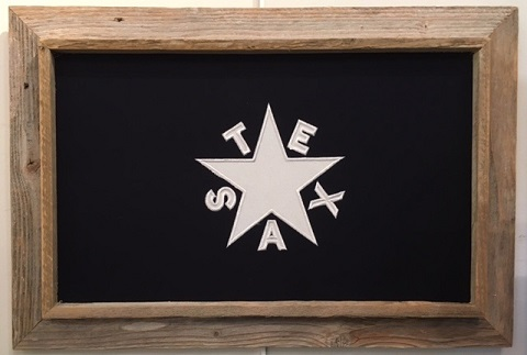 "Antiqued First Republic Texas Flag in Barnwood Frame 20""x28"""