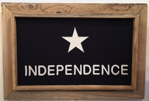 "Antiqued Independence Texas Flag in Barnwood Frame 28""x40"""