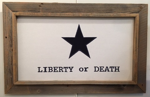 "Antiqued Liberty or Death Texas Flag in Barnwood Frame 20""x28"""
