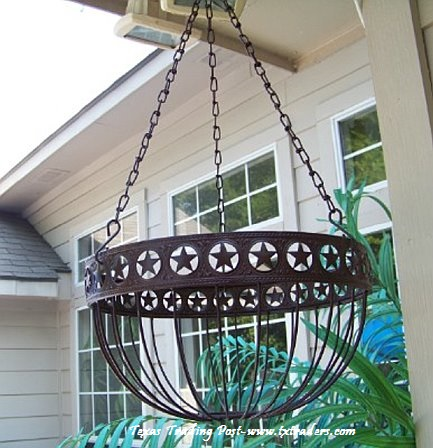 Texas Lone Star Metal Hanging Basket