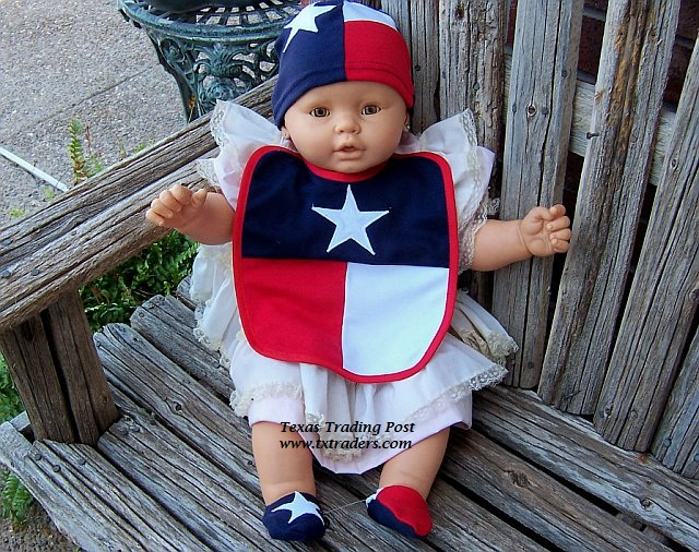 Texas Baby Booties, Cap and Bib Set in the Texas Flag