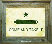 Texas Battle Flag - Come and Take it Flag Print in Barnwood Frame