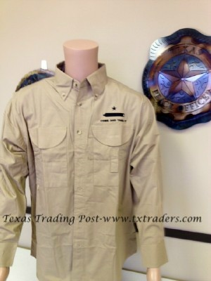 Come and Take It Battle Flag on Khaki Fishing Shirt