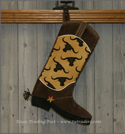 Boot Texas Christmas Stocking with Texas Longhorns