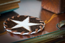 Cowhide Coaster with the Texas Lone Star