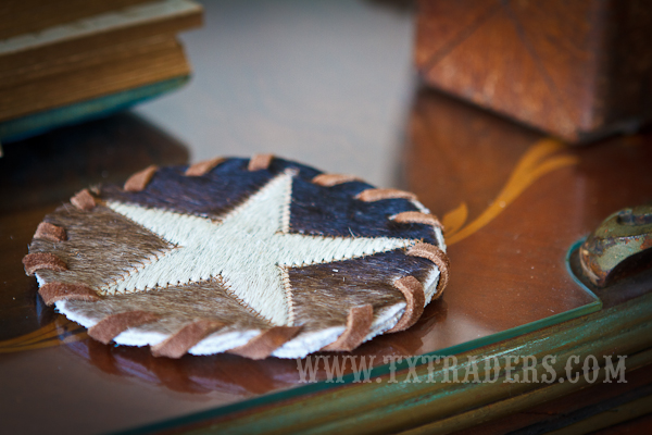Texas Cowhide Coaster with the Texas Lone Star