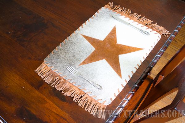 Cowhide Placemat - Texas Cowhide Placemat with the Texas Lone Star
