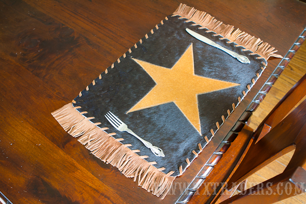 Cowhide Placemat with the Texas Lone Star