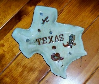 Texas Shaped Ceramic Candy Dish