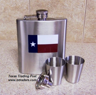 Texas Hip Flask Set with Texas Flag