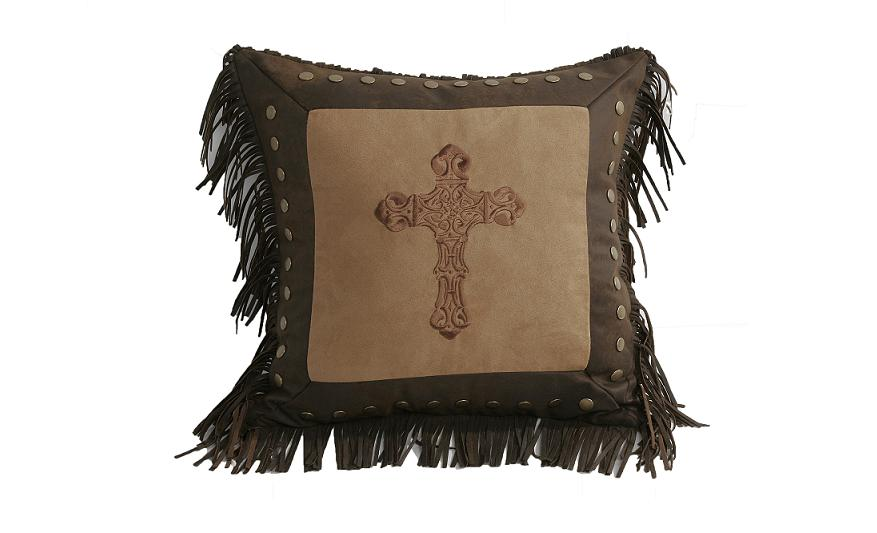 Pillow - Embroidered Cross Throw Pillow - Texas Pillow