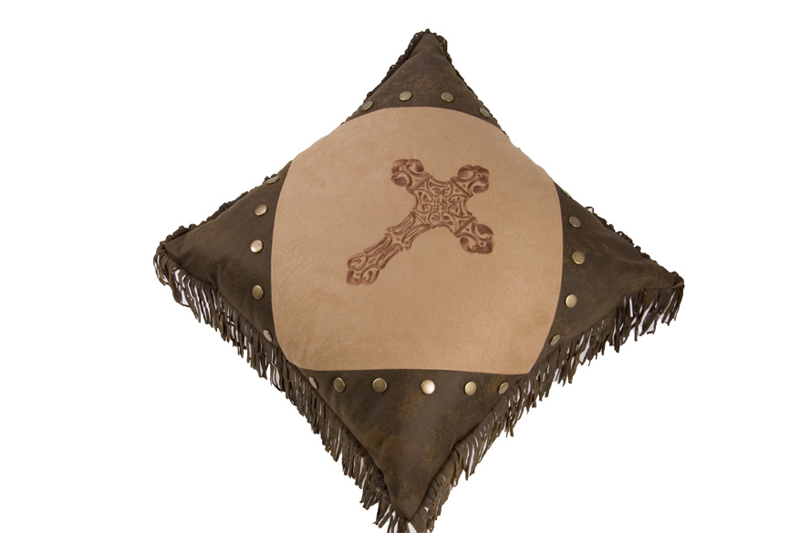 Embroidered Cross Pillow with Fringe - Texas Pillow