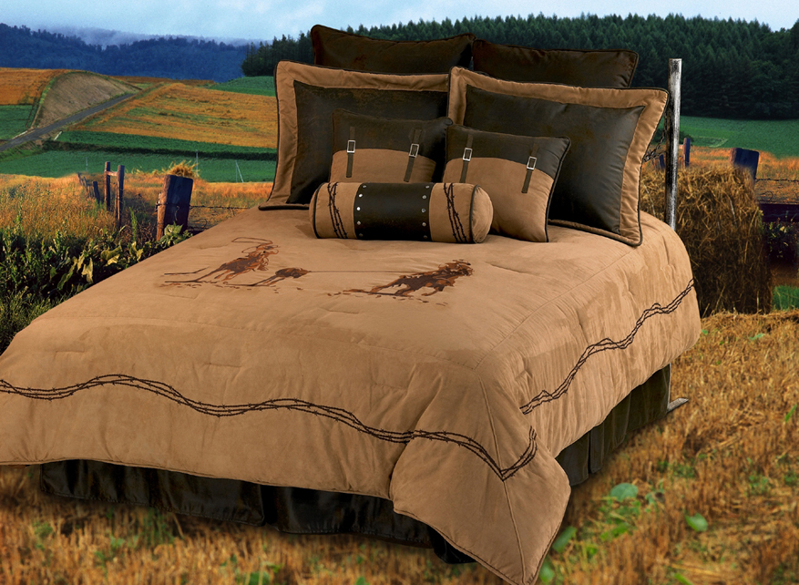 Team Roping Texas Comforter Bedding Set Super Queen