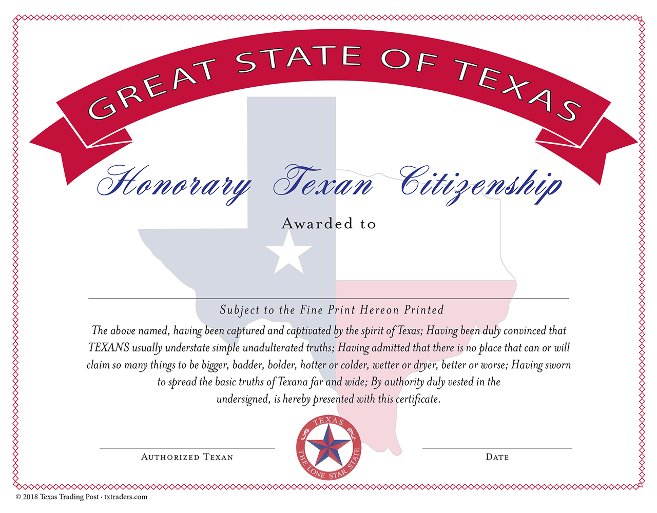 Honorary Citizen of the Great State of Texas Certificate