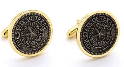 Cufflinks with the Texas State Seal (Antique Silver)