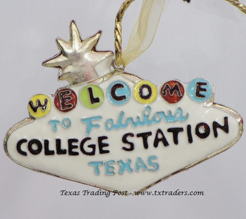 Cloisonne Welcome to Fabulous College Station Ornament