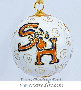 Cloisonne Sam Houston State Bearkats Ornament -White