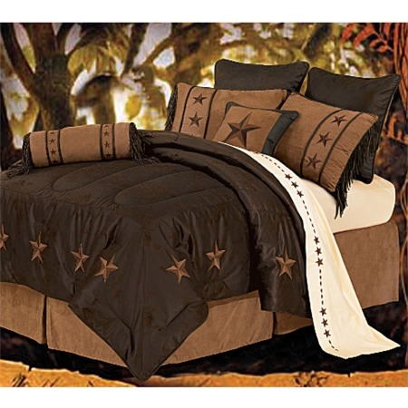 Laredo - Chocolate - 7 Piece Texas Comforter/Bedding - SQueen Texas Bedspread