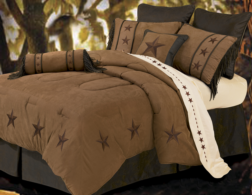 Laredo - Tan - 5 Piece Texas Comforter/Bedding - Twin - Texas Bedspread