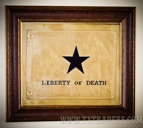 Framed Texas Battle Flag Liberty Or Death Flag