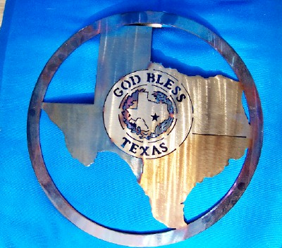 God Bless Texas w/ Shape of Texas-16""