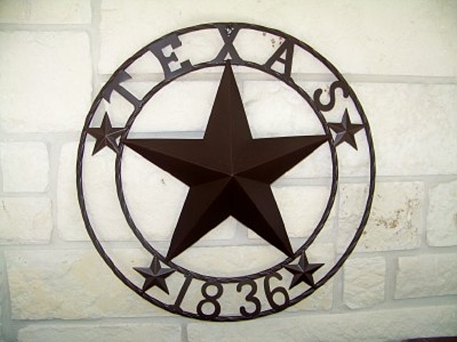 Metal Art Star with Texas 1836