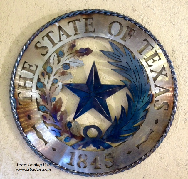 Texas Metal Art - The State Seal of Texas -1845
