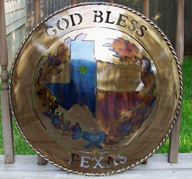 "God Bless Texas 24"" Metal Art"
