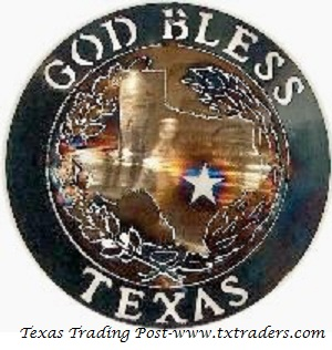 "God Bless Texas 16"" Texas Metal Art"