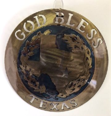 Texas Metal Art - God Bless Texas