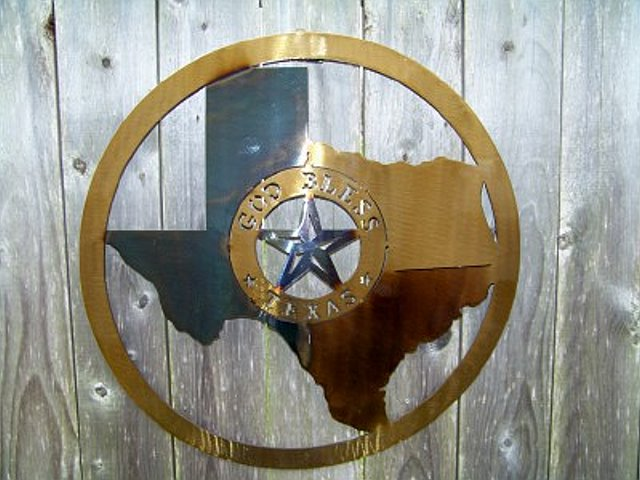 God Bless Texas with Lone Star - Texas Metal Art