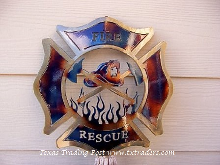 Fire and Rescue - Fire Fighter Emblem Metal Art