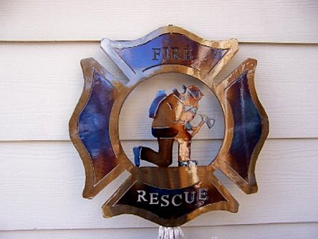 Fire and Rescue-Kneeling Fire Fighter Metal Art
