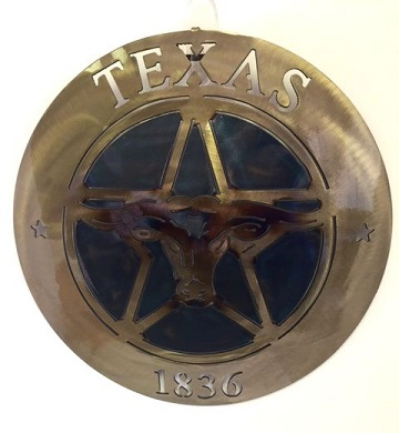Texas Metal Art - Lone Star and Longhorn 1836