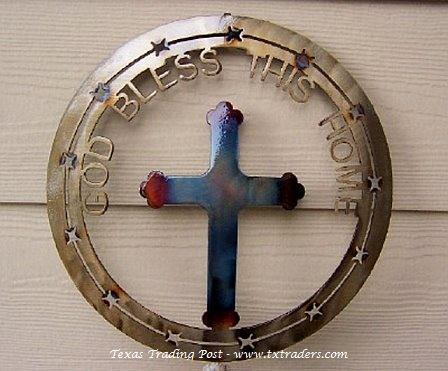 Texas Cross - God Bless This Home - Texas Metal Art
