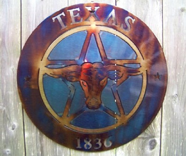 Longhorn, 1836, Texas Lone Star -Metal Art Wall Decor