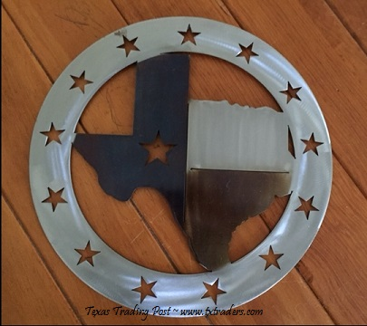 Texas Metal Art - Map of Texas with Lone Stars