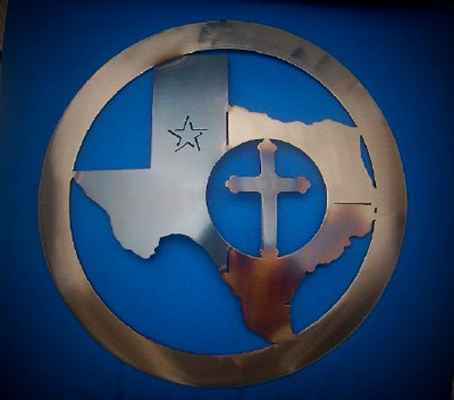 Texas Map with Cross Metal Art Decor