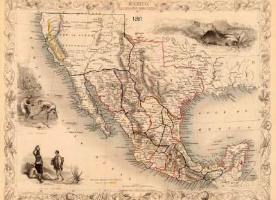 Texas Historical Map California Mexico Texas 1851