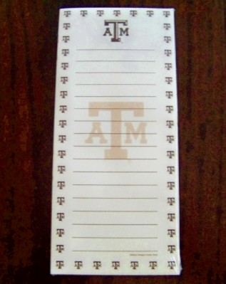 "Texas A&M Note Pad-Great for ""To Do"" Lists"
